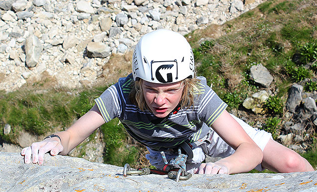 A young climber on one of our development days